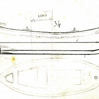 Plan du pointu avec ligne de flottaison tracée